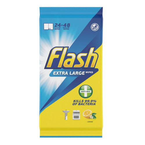 Flash Anti-Bacterial Lemon Wipes 24 X-Large / 48 Small