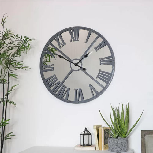 Dark Grey Mirrored Skeleton Clock
