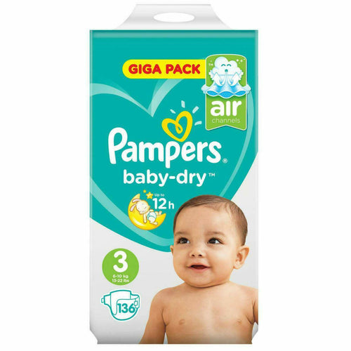 Pampers Baby-Dry Nappies size 3 - 136 Giga Pack