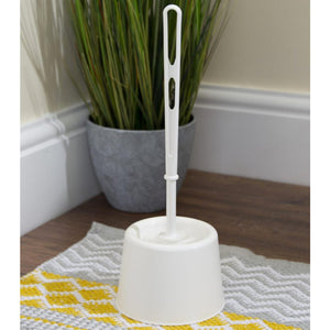White Toilet Brush & Holder Set