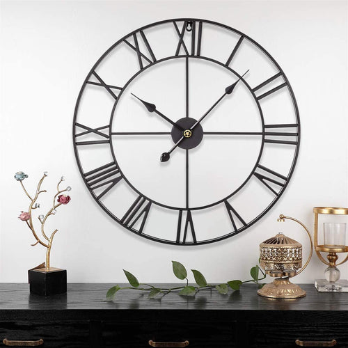 Black Metal Roman Numeral Wall Clock (60 x 60cm)