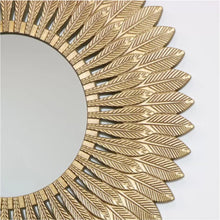 Load image into Gallery viewer, Gold Feathered Wall Mirror