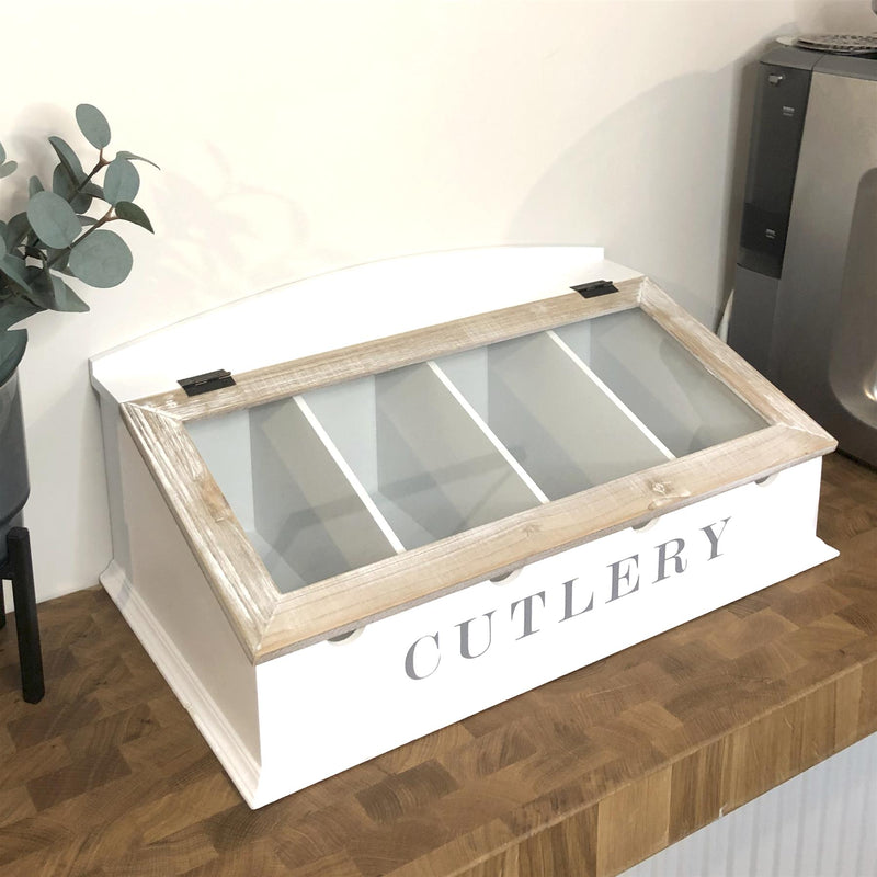 White & Nude Wooden Cutlery Organiser Box