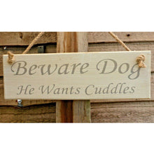 Load image into Gallery viewer, Beware Dog Wooden Plaque (30cm)