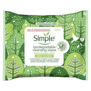 Simple Biodegradable Cleansing Facial Wipes 20s