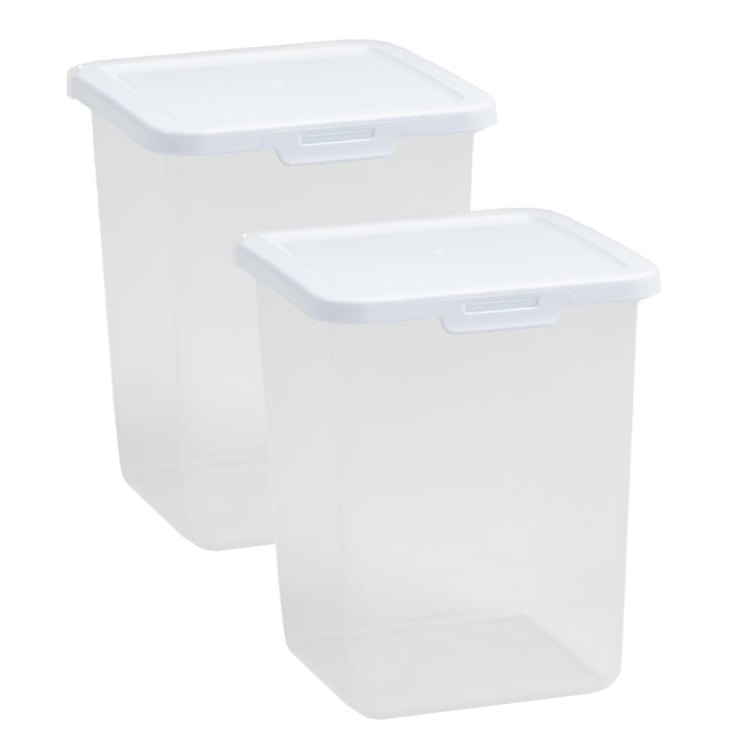 1.5L Square Food Locker Clear/White 2.04 (Pack of 2)