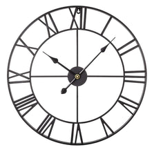 Load image into Gallery viewer, Black Metal Roman Numeral Wall Clock (60 x 60cm)