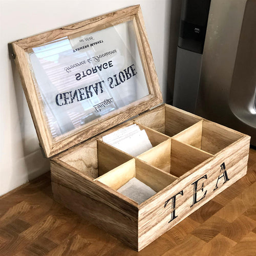 Vintage General Store Wooden Tea Box Chest Holder - 6 Compartents