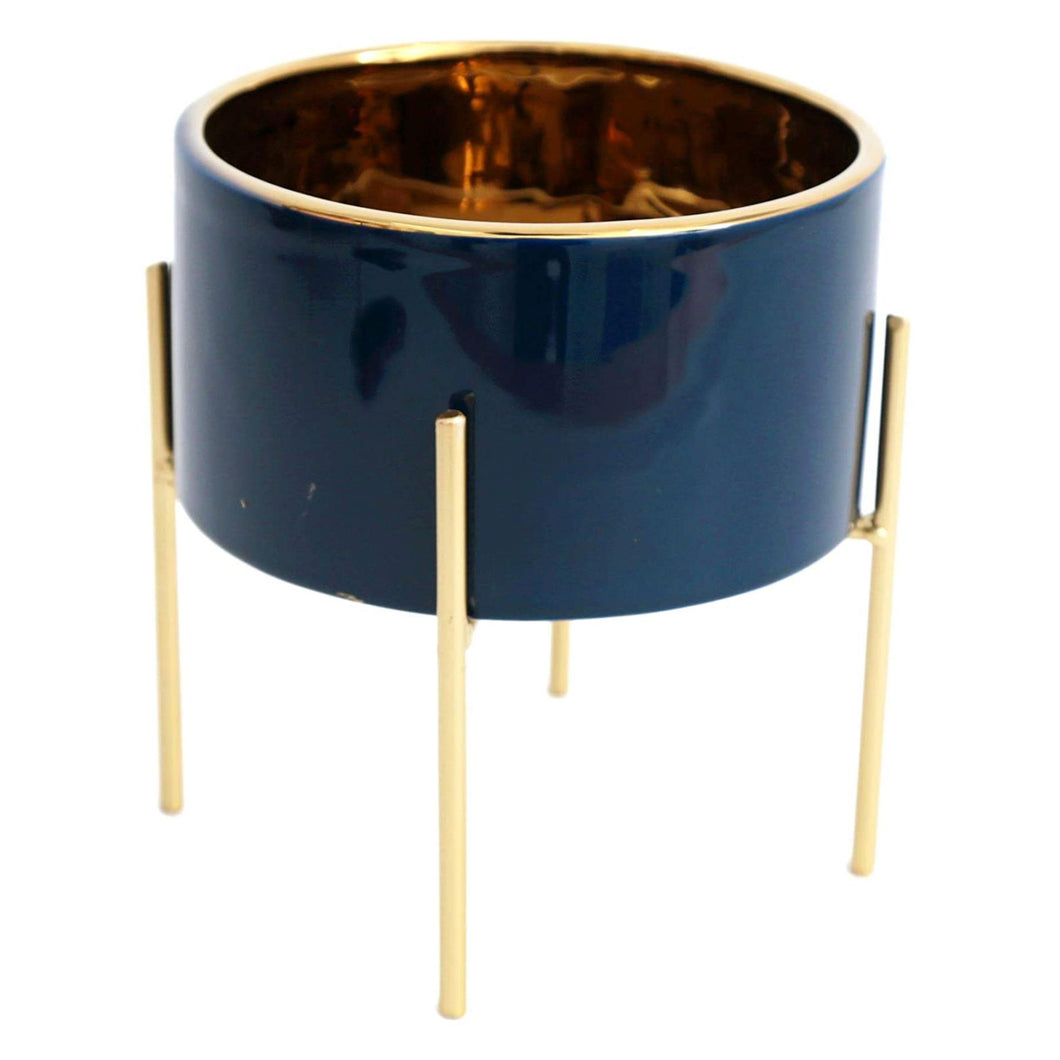 Deep Blue Gold Lined Planter
