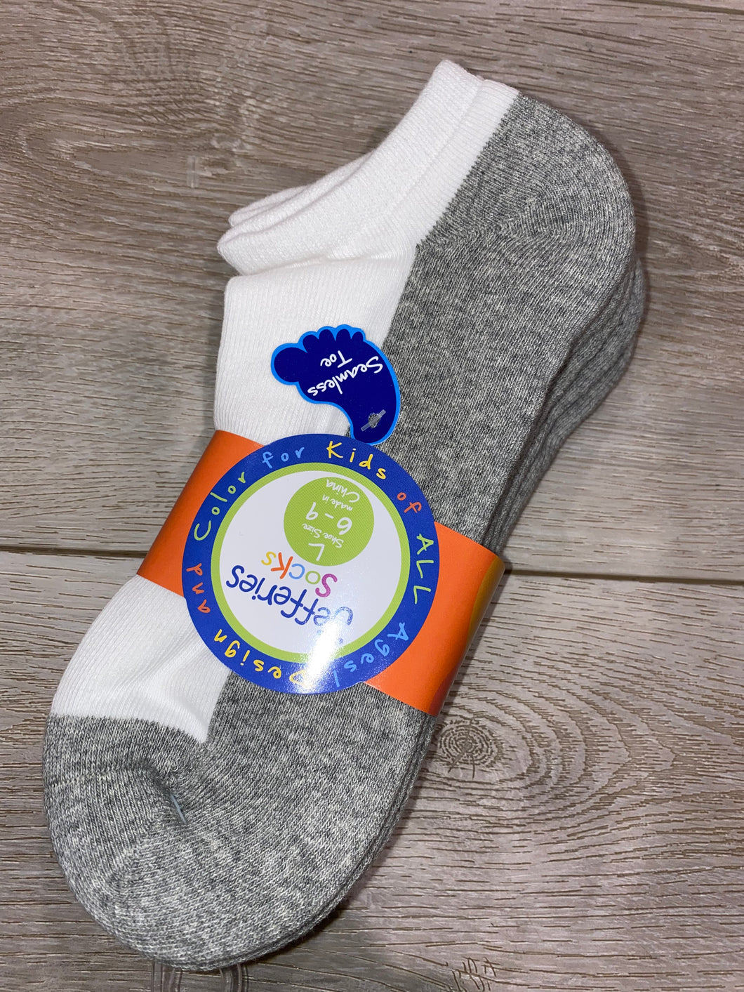 3 Pack - Boys Smooth Toe Sport Ankle Sock (Grey/White)