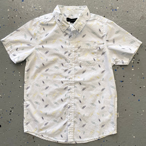 Paperclip Print Short Sleeve Woven Top