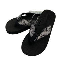 Load image into Gallery viewer, Palm Flip Flops- Black and Silver