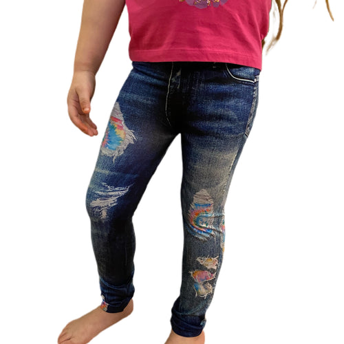 Faux Denim Leggings with Tie Dye Patches