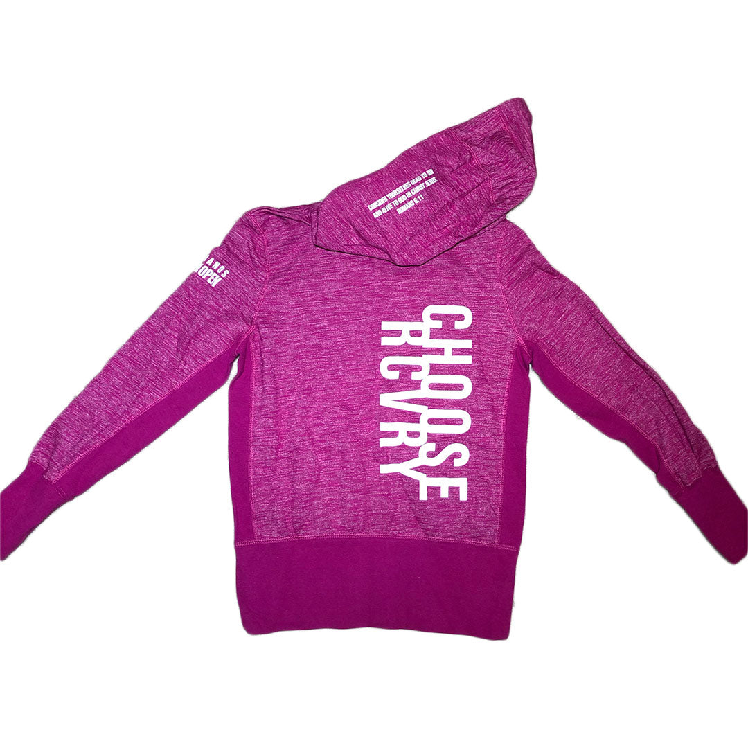 Choose RCVRY Women's Zip-Up Hoodie PINK
