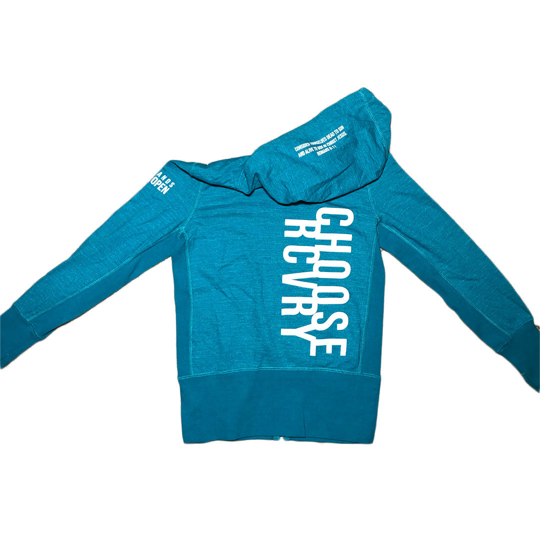 Choose RCVRY Women's Zip-Up Hoodie TURQUOISE