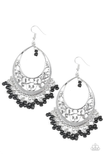 Paparazzi - Malibu Mamba Earrings - Black/Silver
