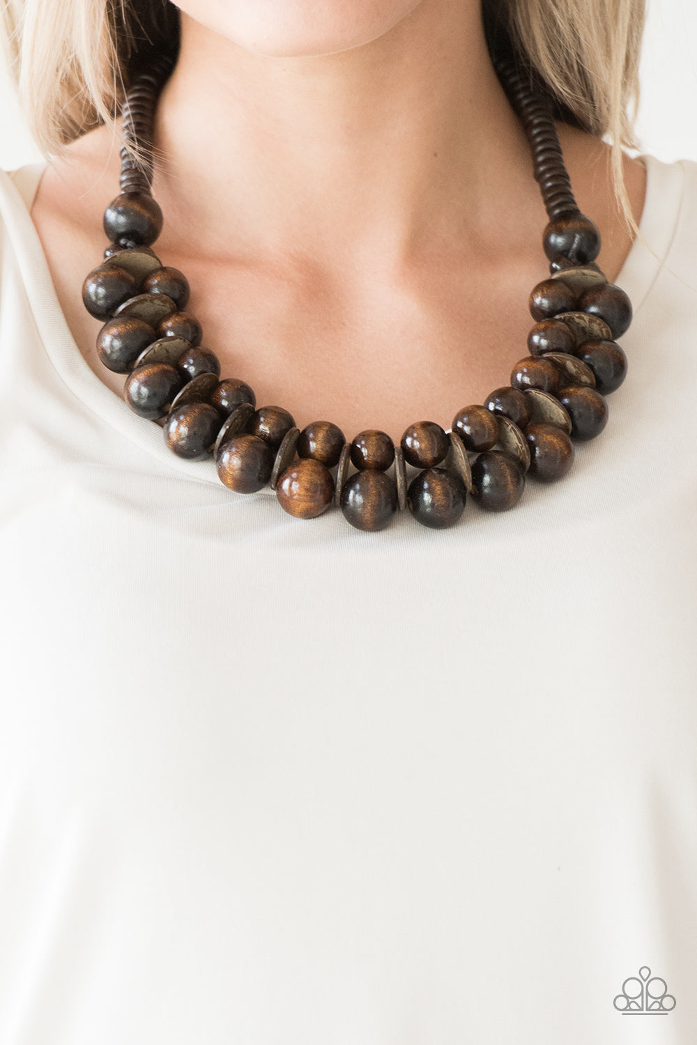 Paparazzi - Caribbean Cover Girl Wooden Bead Necklace