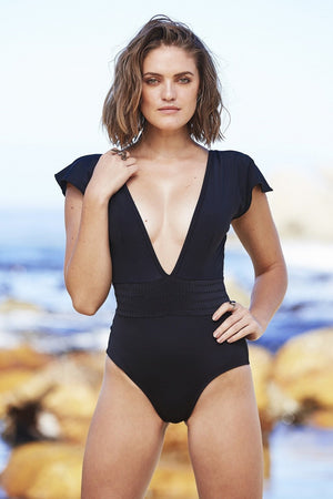 Gabrielle Swimwear - Sleeved Plunge One Piece