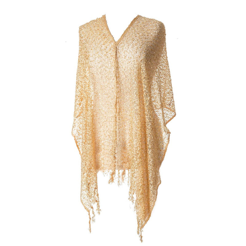 Women's Popcorn Ponchos - Solid Colors - Champagne - Spirit of Nepal - Fair Trade Fashion