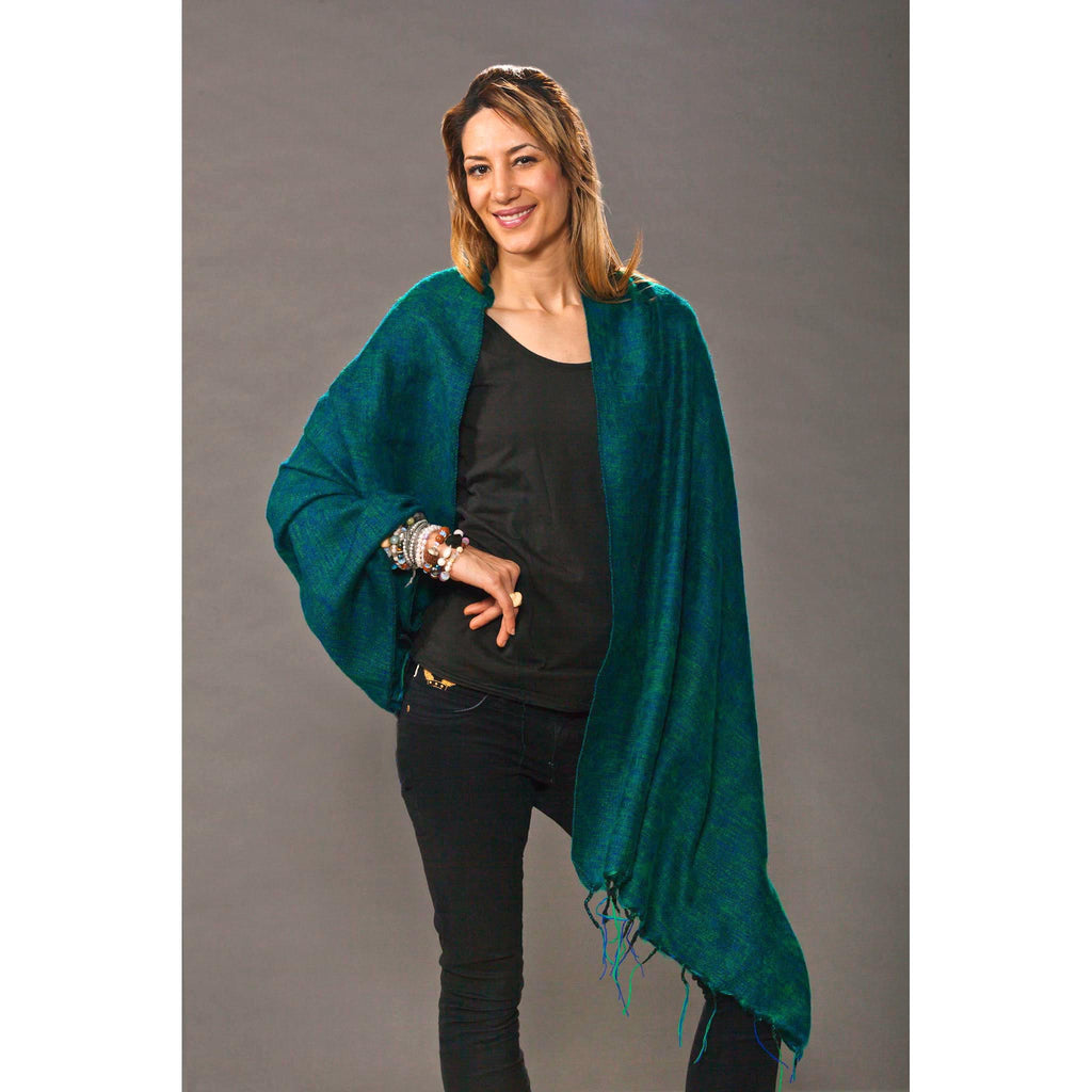 Women's Wraps/Shawls - Blue Green - Spirit of Nepal - Fair Trade Fashion