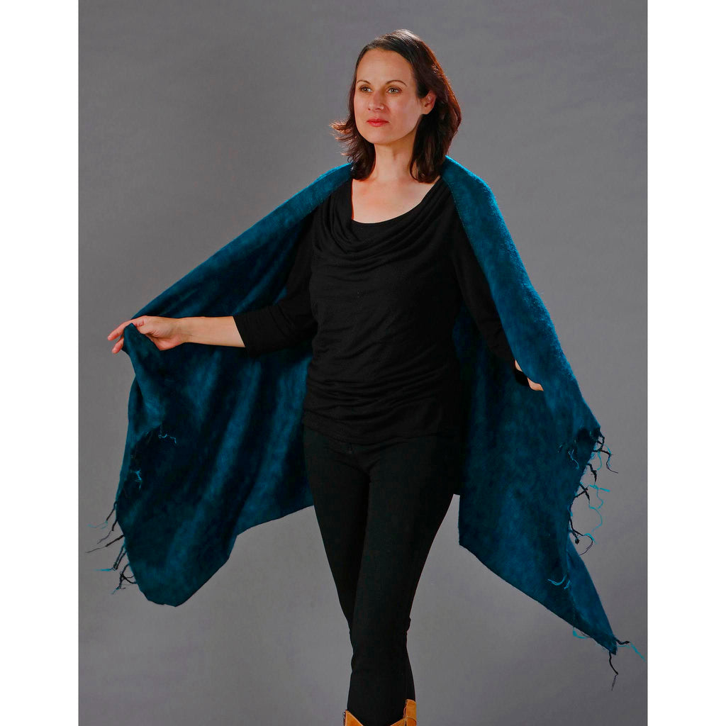 Women's Wraps/Shawls - Teal - Spirit of Nepal - Fair Trade Fashion