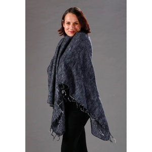Womens Solid Poncho — Fair Trade Fashion from Nepal - Charcoal