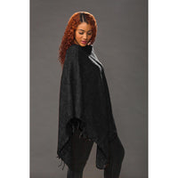 Women's Solid Ponchos - Black - Spirit of Nepal - Fair Trade Fashion