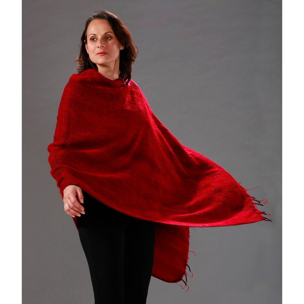 Womens Solid Poncho — Fair Trade Fashion from Nepal - Red