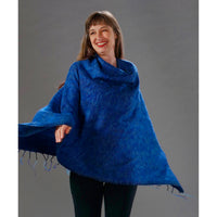 Womens Solid Poncho — Fair Trade Fashion from Nepal - Sky