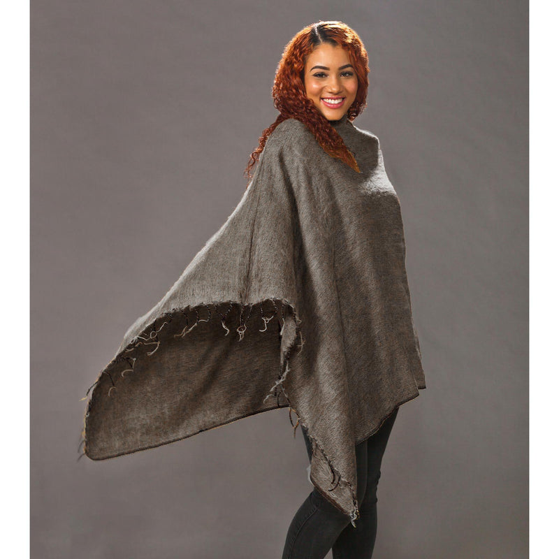 Women's Solid Ponchos - Brown - Spirit of Nepal - Fair Trade Fashion