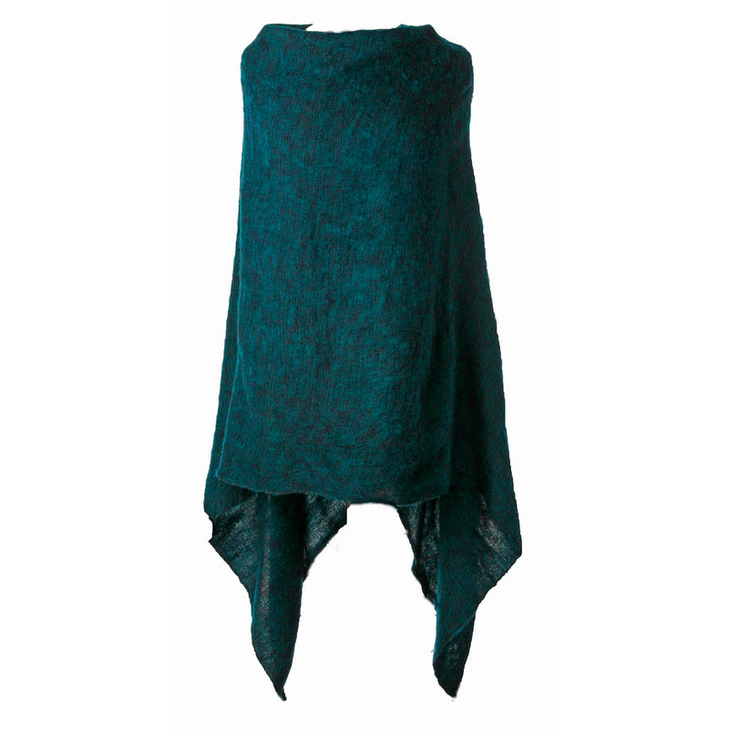 Women's Solid Ponchos - Teal - Spirit of Nepal - Fair Trade Fashion