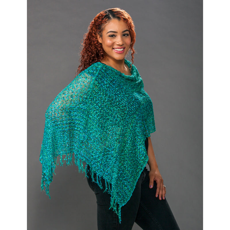 Women's Popcorn Ponchos - Agean Sparkle - Spirit of Nepal - Fair Trade Fashion