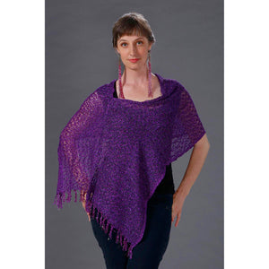 Women's Popcorn Ponchos - Solid Colors - Spirit of Nepal - Fair Trade Fashion - Purple