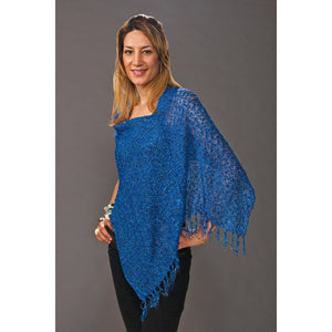 Women's Popcorn Ponchos - Blue Sparkle - Spirit of Nepal - Fair Trade Fashion