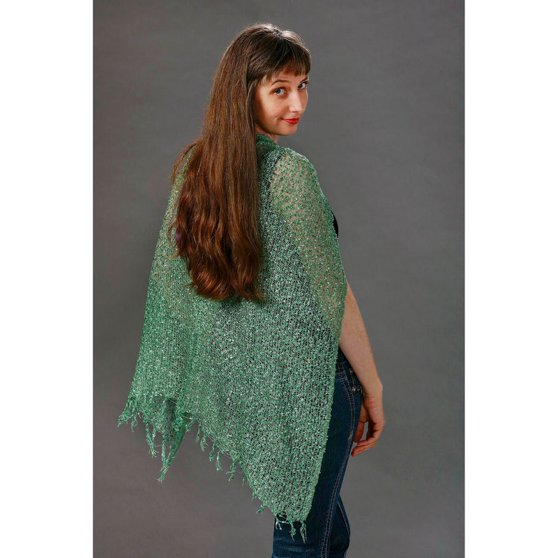 Women's Popcorn Ponchos - Solid Colors - Celadon - Spirit of Nepal - Fair Trade Fashion
