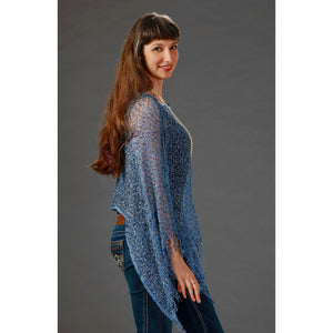 Women's Popcorn Ponchos - Solid Colors - Denim - Spirit of Nepal - Fair Trade Fashion