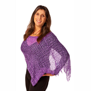 Women's Popcorn Ponchos - Lavender - Solid Colors - Spirit of Nepal - Fair Trade Fashion
