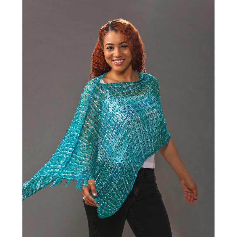Women's Popcorn Ponchos -  Mint Mix - Mixed Colors - Spirit of Nepal - Fair Trade Fashion