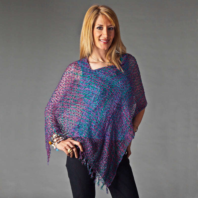 Women's Popcorn Ponchos - Opal Mix - Mixed Colors - Spirit of Nepal - Fair Trade Fashion