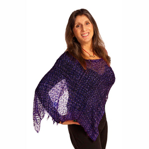 Women's Popcorn Ponchos - Royal Purple - Mixed Colors - Spirit of Nepal - Fair Trade Fashion