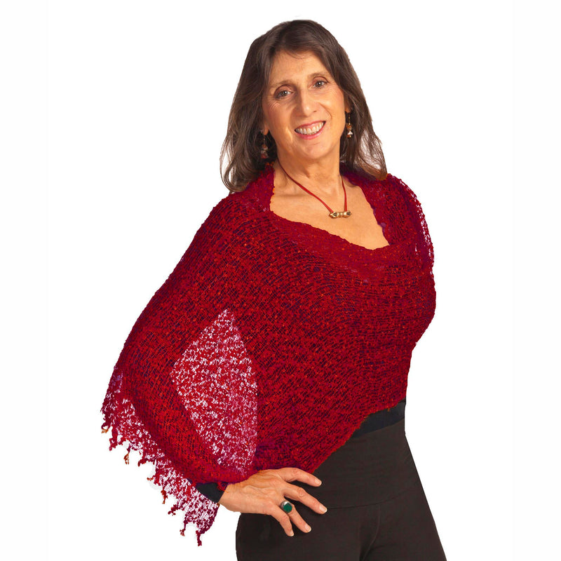 Women's Popcorn Ponchos - Scarlet - Solid Colors - Spirit of Nepal - Fair Trade Fashion