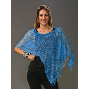 Women's Popcorn Ponchos - Sky - Solid Colors - Spirit of Nepal - Fair Trade Fashion