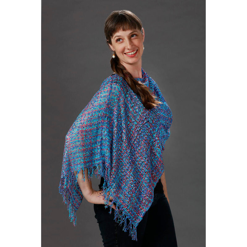 Women's Popcorn Ponchos - Turquoise Mix - Mixed Colors - Spirit of Nepal - Fair Trade Fashion