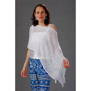 Women's Popcorn Ponchos - White Sparkle - Spirit of Nepal - Fair Trade Fashion