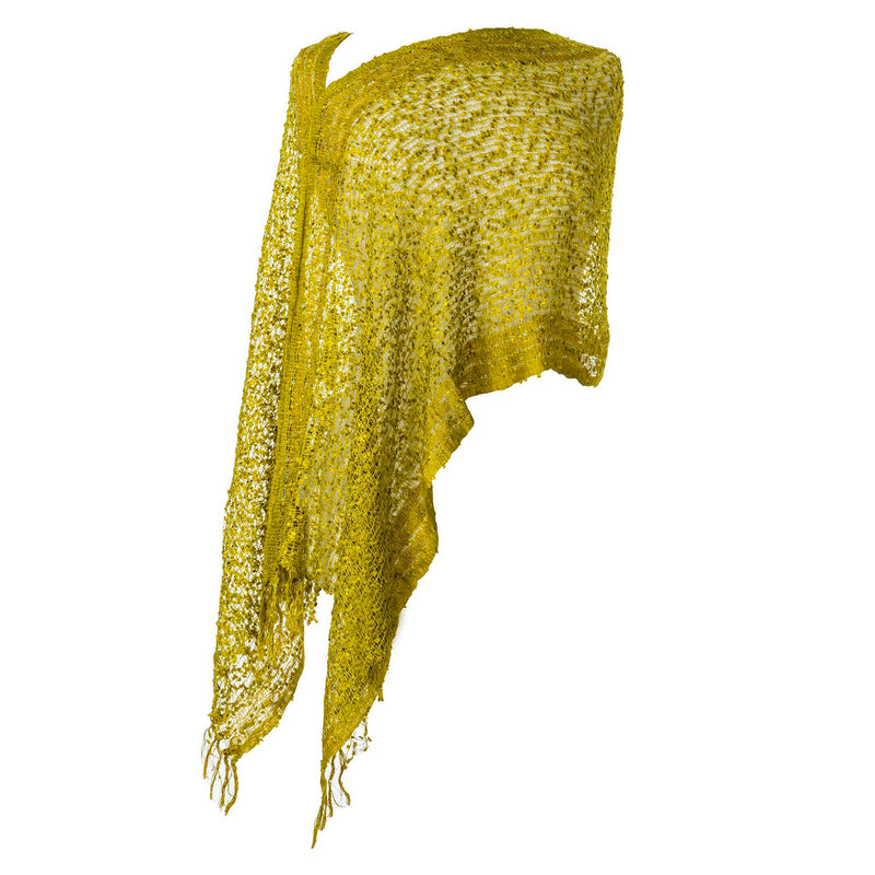 Womens Popcorn Poncho — Fair Trade Fashion from Nepal - Chartreuse
