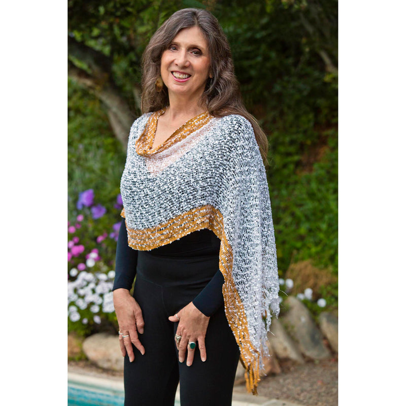 Women's Popcorn Ponchos - Gold/Silver Border - Spirit of Nepal - Fair Trade Fashion