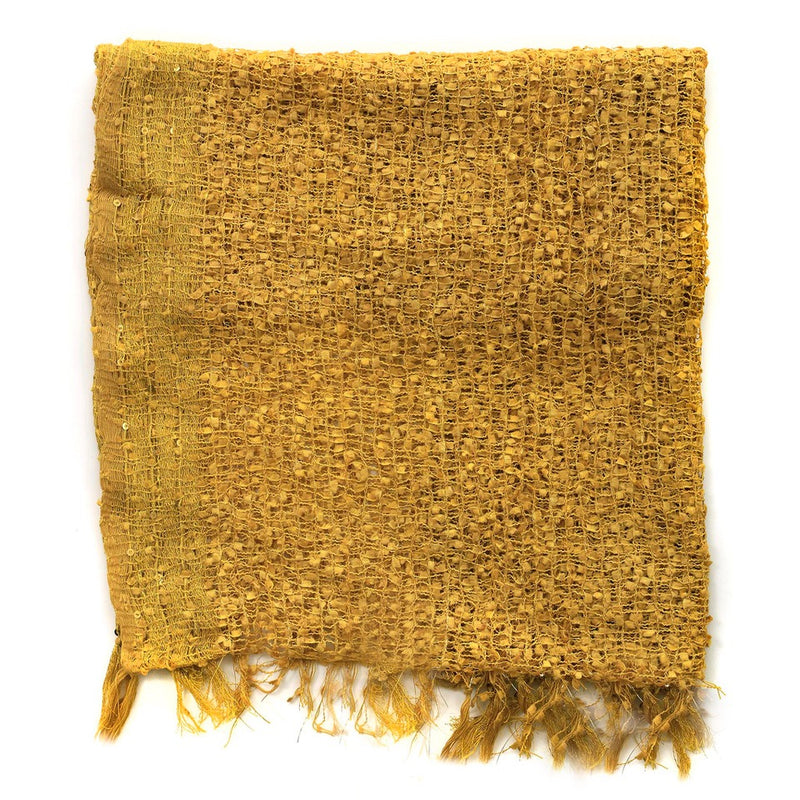 Women's Popcorn Ponchos - Gold Gold Border Swatch - Spirit of Nepal - Fair Trade Fashion