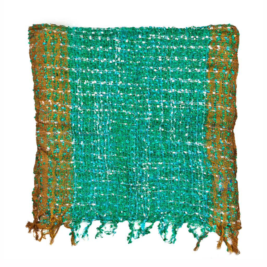 Womens Popcorn Poncho — Fair Trade Fashion from Nepal - Green White Gold Border - Green White Gold Border