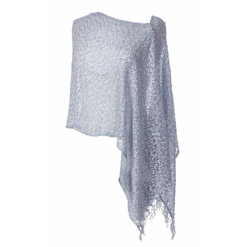 Women's Popcorn Ponchos - Solid Colors - Periwinkle - Spirit of Nepal - Fair Trade Fashion