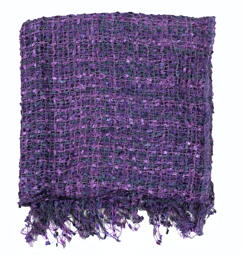 Women's Popcorn Ponchos - Royal Purple Swatch - Mixed Colors - Spirit of Nepal - Fair Trade Fashion